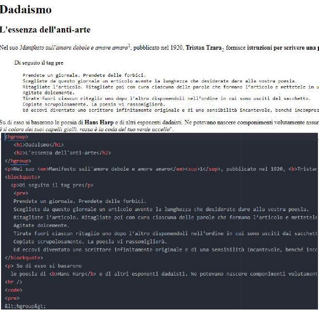 html e formattazione testi